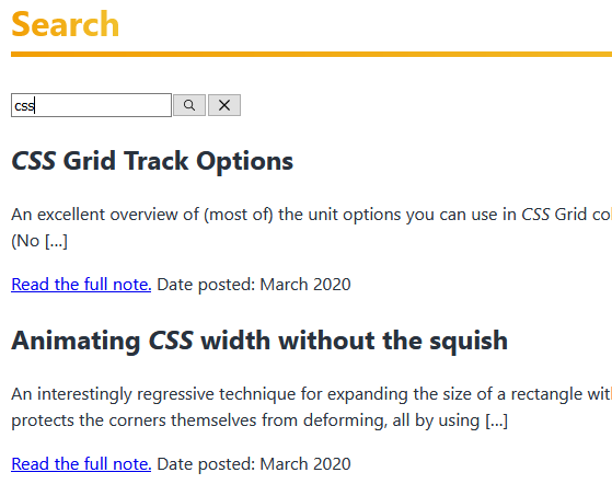 "Search box has the text ""CSS"" typed and two results are displayed, one on CSS grid and the other on CSS animations. In both results, the text ""CSS"" in the title is italicised; in the first result the summary also contains ""css"" italicised."
