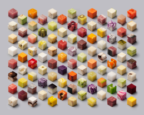 Over fifty types of food including cabbage, fish and pineapple, cut into perfect cubes and aligned in a minimalist grid fashion.