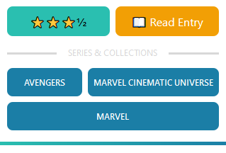"Review card showing rating, link to read the review, and three categories displayed in a grid: ""avengers"", ""mcu"", and ""marvel""."