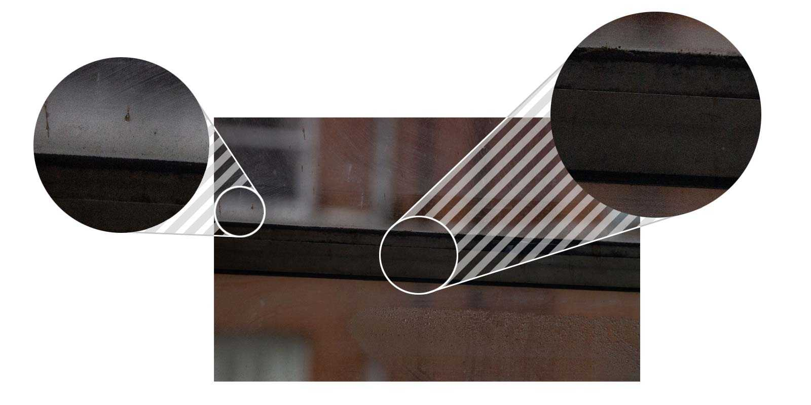 Test photo of a window with two sections magnified, one from the centre showing clean lines and no blurring; the other from the edge, which shows some minor fuzziness on sharp edges.