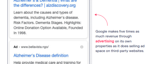 Design of image annotation, offset to the side of the image but with key words highlighted in red and a bold red arrow arcing towards the image.