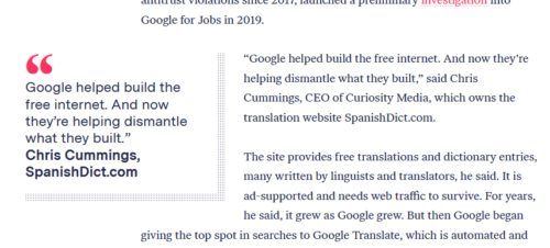 Design of quote, highlighted from main article text through larger text and shifted into a side column.