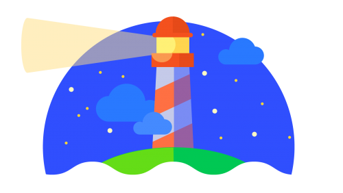Cartoon lighthouse against a starry sky with waves in the foreground.