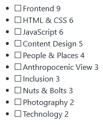Bullet list of categories with checkboxes and total number of results displayed.