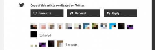 Example of anonymised feed with standard social sharing buttons and aggregated likes, favourites, and replies beneath. User photos have been pixelated and names removed.