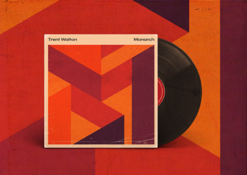 "Monarch album art mocked up as a vinyl sleeve; design and music by Trent Walton. A large ""m"" made out of geometric shapes with a warm colour palette."