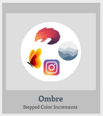 """Examples for the logo category """"ombre"""" or stepped-colour increments. Includes the Instagram logo as well as a butterfly with colour-graded wings, a range of mountains that fade into the distance, and a pangolin where each row of scales is a slighlty darker shade of red than the last."""